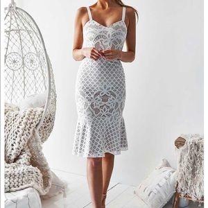 White Lace Midi Dress With Cream Underlay